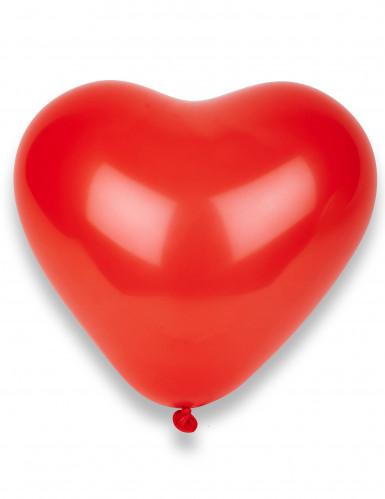 10 balões corações vermelhos