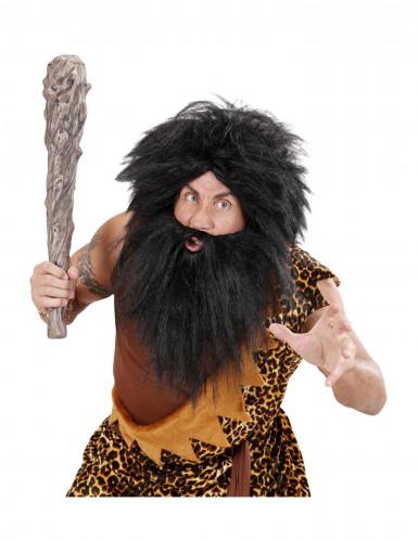 Peruca com barba preta para adulto-2