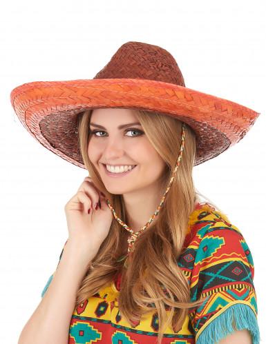 Sombrero mexicano cor de laranja adulto-2
