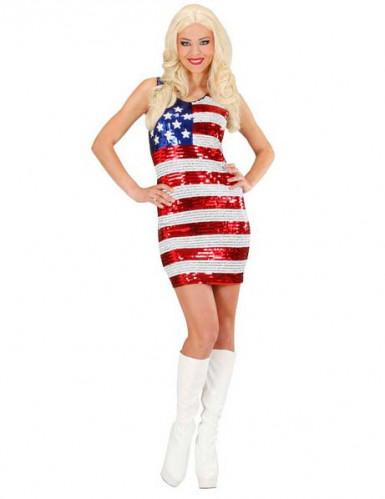 Disfarce vestido com lantejoulas miss USA mulher