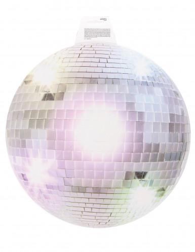 Decoração mural bola de discoteca prateada 34 cm