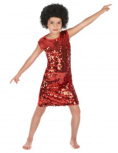 Disfarce disco menina vermelho com purpurinas