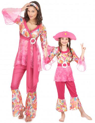 Disfarce casal hippie para mãe e filha