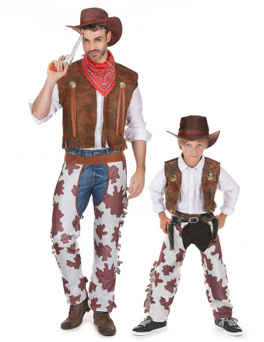 Disfarce cowboy casal pai e filho