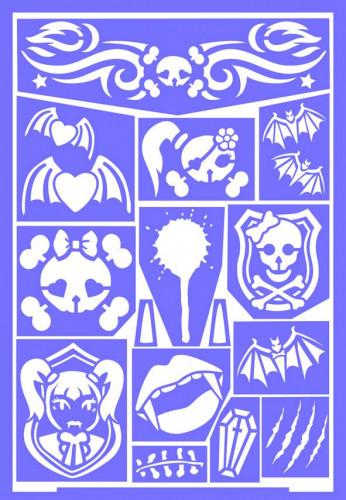Stencils de maquilhagem reutilizável Princesa gótica Grim Tout