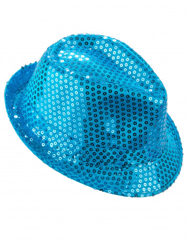 Chapéu com lantejoulas azuis adulto