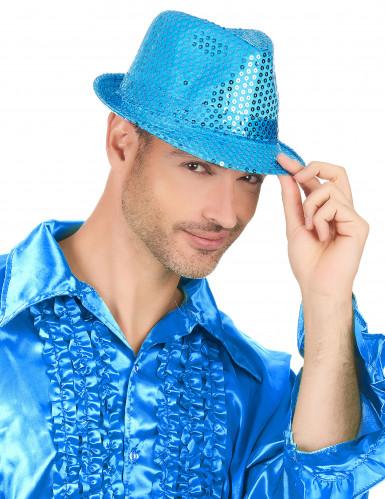 Chapéu com lantejoulas azuis adulto-2