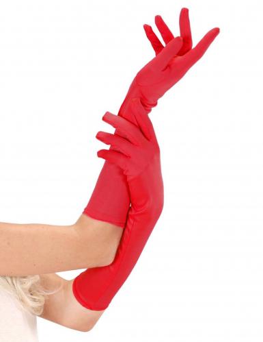 Luvas longas vermelhas mulher
