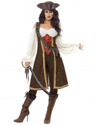 Disfarce pirata castanho mulher