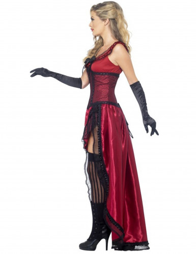 Disfarce dançarina saloon sexy vermelho mulher-1