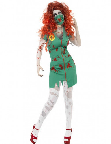 Disfarce zombie paramédica mulher Halloween