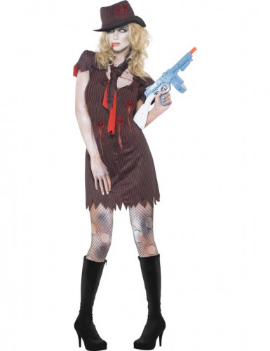 Disfarce zombie gangster sexy mulher Halloween