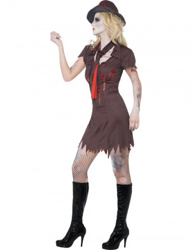Disfarce zombie gangster sexy mulher Halloween-2
