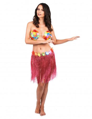 Saia havaiana curta cor-de-rosa adulto