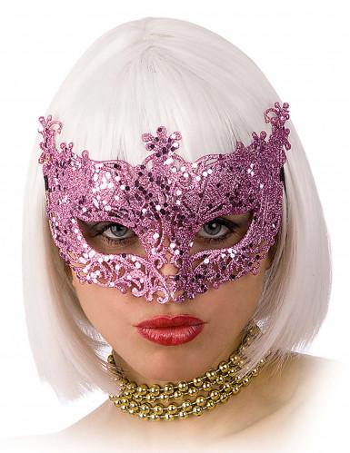 Máscara veneziana rosa brilhante adulto