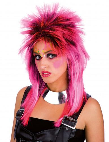 Peruca punk rosa adulto
