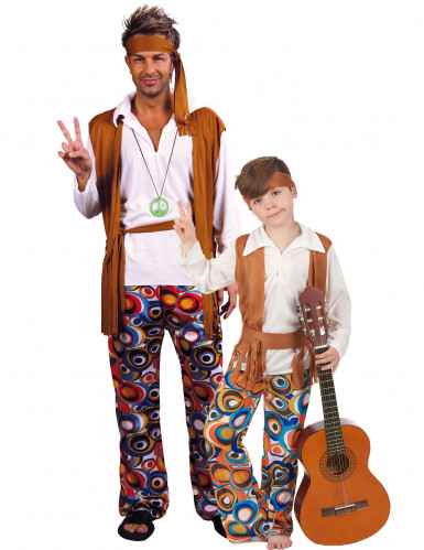 Disfarce de casal hippie pai e filho