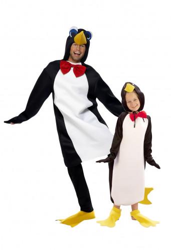 Disfarces de pinguims pai e filho
