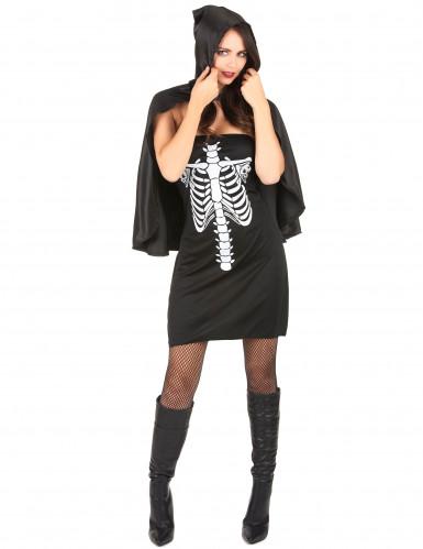 Disfarce esqueleto com capa mulher