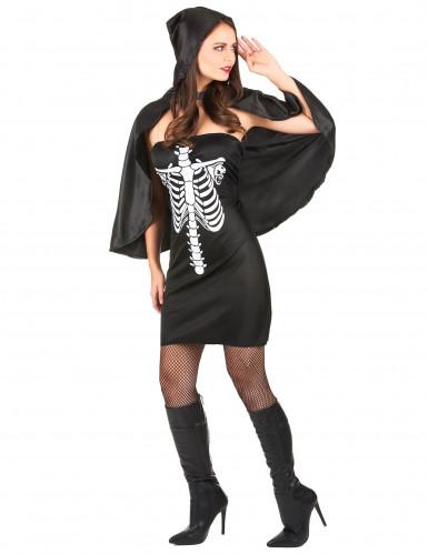 Disfarce esqueleto com capa mulher-1