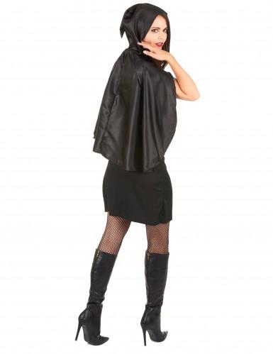 Disfarce esqueleto com capa mulher-2