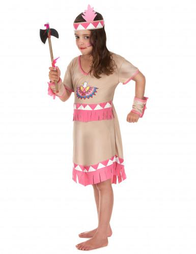 Disfarce de índia menina franjas cor-de-rosa-1