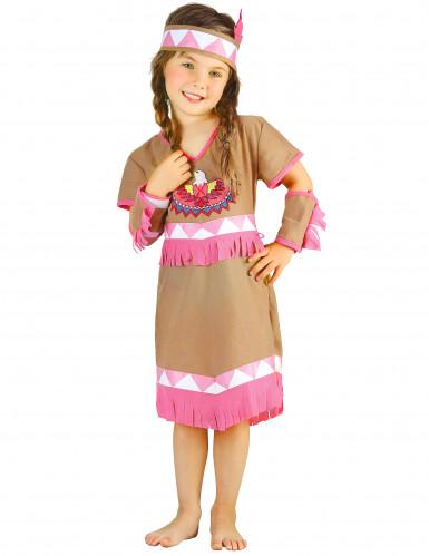 Disfarce de índia menina franjas cor-de-rosa-3