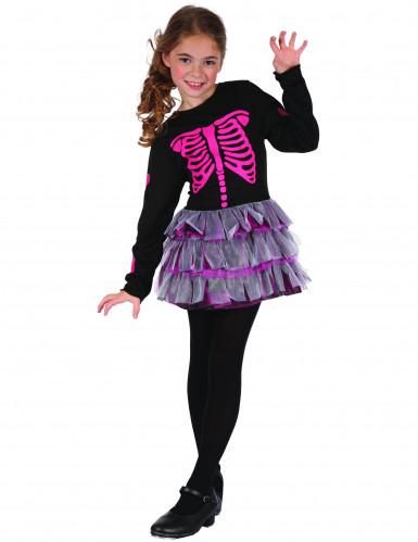 Disfarce esqueleto Cor de rosa menina