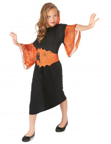 Disfarce rainha aranha laranja menina-1
