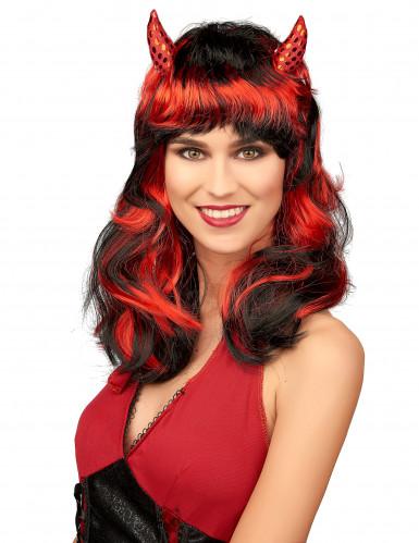 Peruca de diaba vermelho mulher