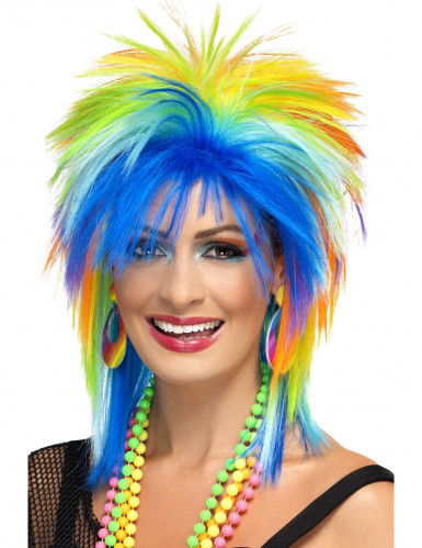 Peruca colorida anos 80 mulher