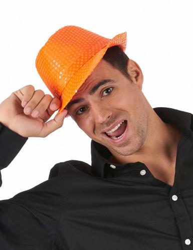 Chapéu de lantejoulas cor de laranja adulto-1