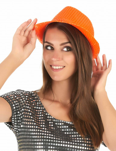 Chapéu de lantejoulas cor de laranja adulto-2