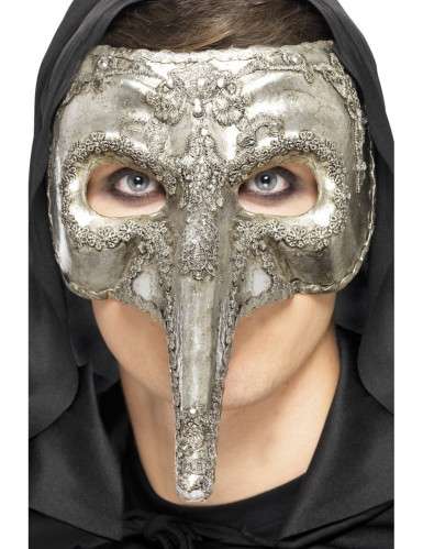 Semi-máscara veneziana com um longo nariz em prateado para adulto