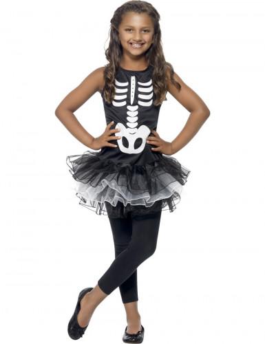 Disfarce esqueleto tutu preto rapariga Halloween