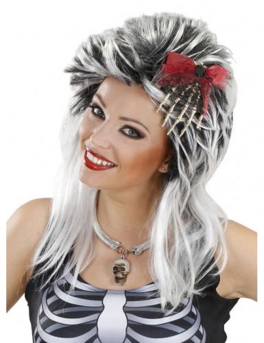 Travessão para o cabelo mão esqueleto adulto Halloween