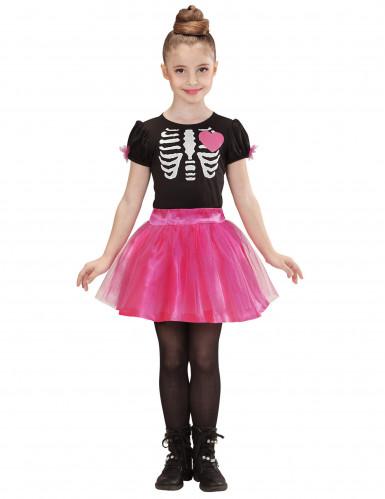 Disfarce esqueleto rosa rapariga Halloween