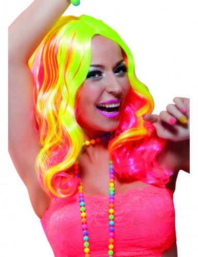 Peruca longa cor de rosa e amarelo fluo mulher