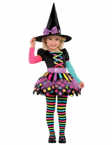 Disfarce de bruxa colorida menina Halloween
