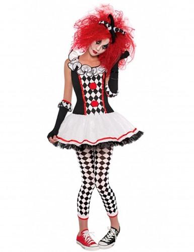 Disfarce palhaço arlequim adolescente Halloween