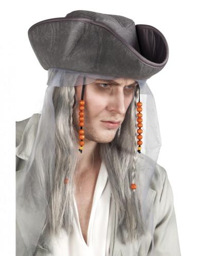 Peruca pirata cinzenta homem