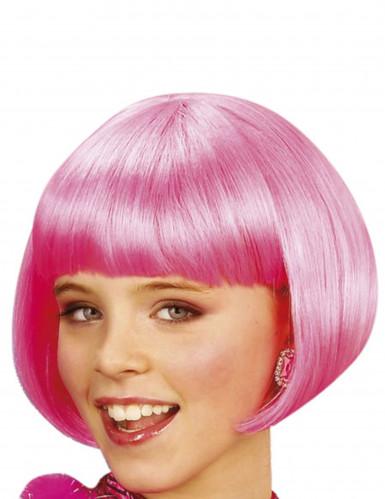 Peruca cor de rosa cabaret menina