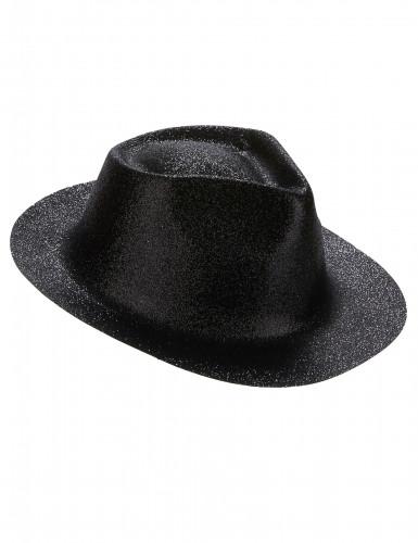 Chapéu preto brilhante adulto