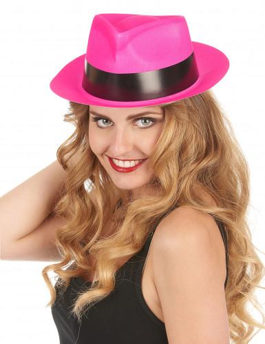 Chapéu gangster cor-de-rosa fluo adulto-1