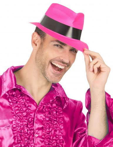Chapéu gangster cor-de-rosa fluo adulto-2