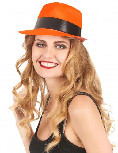 Chapéu gangster cor de laranja fluo adulto-1