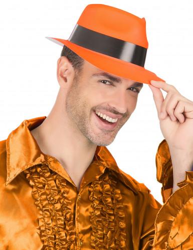Chapéu gangster cor de laranja fluo adulto-2