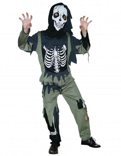 Disfarce de esqueleto zombie para criança