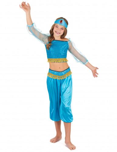 Disfarce de dancarina oriental azul menina