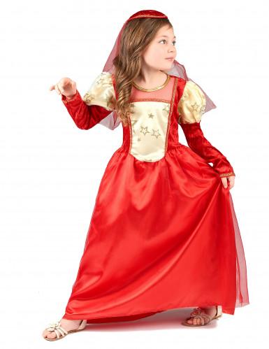 Disfarce medieval vermelho menina-1